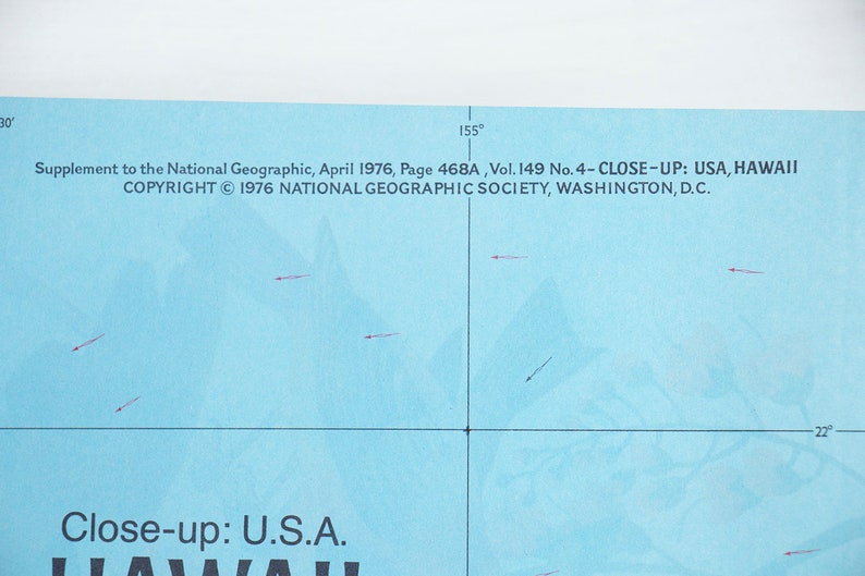 HAWAII APRIL 1976 National Geographic MAP of Close-Up USA