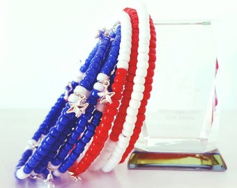 Patriotic Memory Wire Bracelet 4th of July Bracelet July 4th Bracelet Charm Bracelet Red White and Blue Bracelet Memory Wire Beaded Bracelet