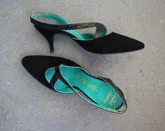 vintage 1960s heels / 60s oleg cassini heels / 60s black suede kitten heels / 60s sling back pumps / 60s marquise heels / 60s designer shoes