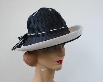 vintage 1970s hat / 1970s YSL straw hat / 70s designer navy white straw hat / 70s does 40s hat / 60s wide brim hat / 70s tilt hat