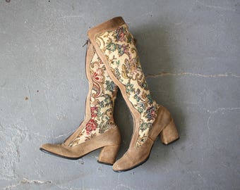 vintage 1960s boots / 60s brown suede tall boots / knee high boots / 60s tapestry boots / made in Italy boots / size 5.5 / 2.5 inch heel