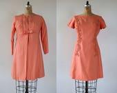 vintage 1960s dress and jacket set 60s peach party dress 60s lace beaded rhinestone dress 60s empire waist coat sylvia ann set M L