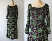 vintage 1960s dress 60s velvet lurex maxi dress 60s floral full length dress 60s long sleeve dress bell sleeve dress medium large