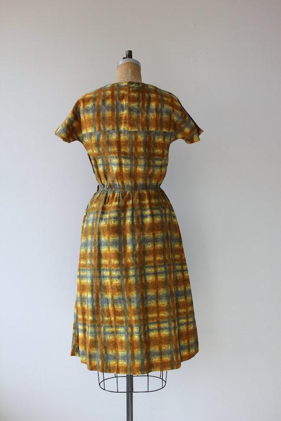 1950s vintage dress / 50s golden plaid dress / 50… - image 5