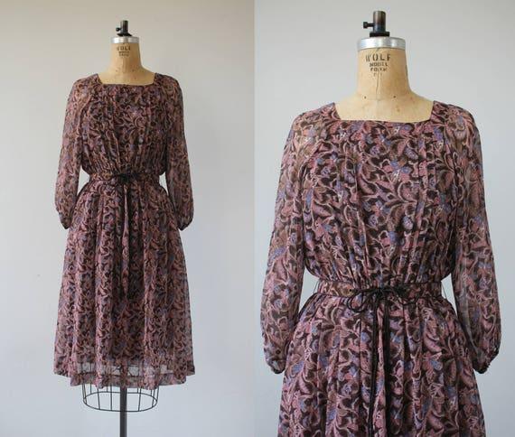 vintage 1970s dress / 70s boho dress / 70s floral