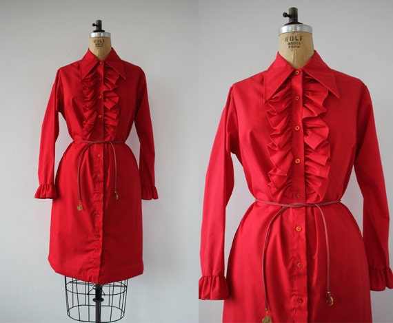 vintage 1970s dress / 70s shirt dress / 70s ruffle