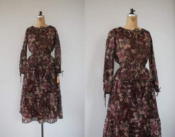 vintage 1970s dress set / 70s blouse skirt set / 7