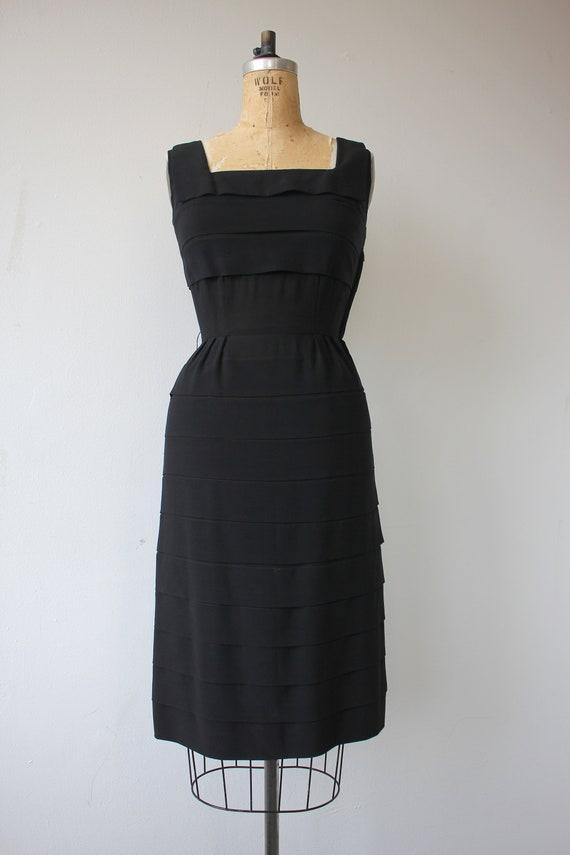 vinage 1950s black dress / 50s tiered dress / 50s… - image 2