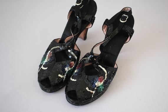 bonwit pumps vintage sequin black heels teller pinup toe 7 deliso platform 40s heels peep ave 5 1940s heels 40s 1940s 40s shoes 5th aqapPS