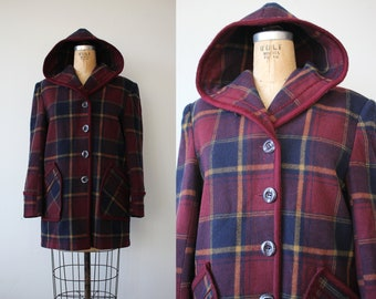 vintage 1980s coat / 80s plaid jacket / 80s winter coat / hooded coat / 80s wool boxy jacket /maroon navy plaid coat / medium large