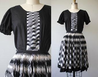 vintage 1960s dress / 60s square dance dress / 60s black white plaid print dress / 60s full skirt dress / buffalo check dress / xs small