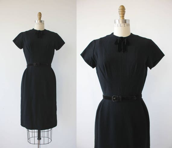 vinage 1950s black dress / 50s black wool dress /