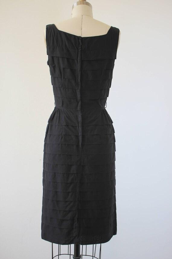 vinage 1950s black dress / 50s tiered dress / 50s… - image 4