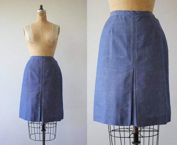 1960s vintage skirt / 60s chambray skirt / 60s den