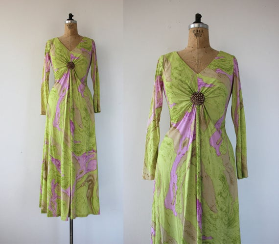 vintage 1960s dress / 60s maxi dress / 60s long sl