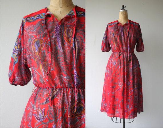 1970s vintage dress / 70s red floral dress / 70s b
