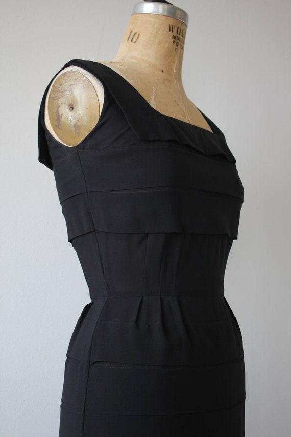 vinage 1950s black dress / 50s tiered dress / 50s… - image 5