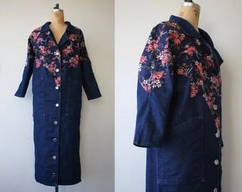 vintage 1980s jacket / 80s denim jacket / 90s jean jacket / long duster jean jacket / duster denim jacket / western style / medium large