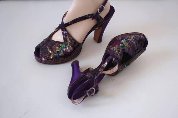 vintage 1940s platform heels / 40s purple sequin h