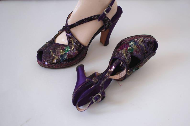 b1ac121a121e Vintage 1940s platform heels   40s purple sequin heels   1940s