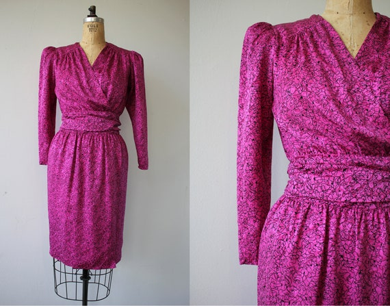 vintage 1980s dress / 80s silk dress / 1980s abstr