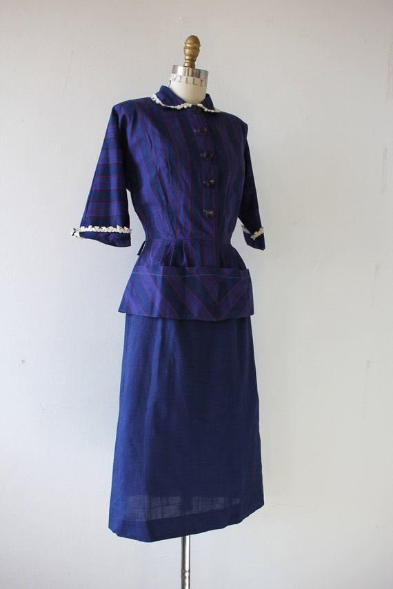 1940s vintage dress / 40s blue cotton dress / 40s… - image 4
