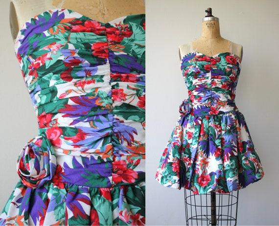 vintage 1980s dress / 80s party dress / 80s strapl