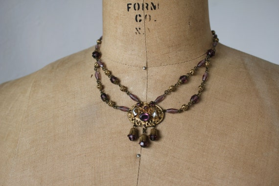 vintage 1930s brass and glass bead necklace / 30s