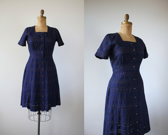 vintage 1940s dress / 40s navy blue eyelet dress /