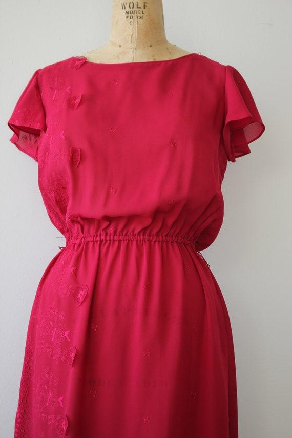 vintage 1970s dress / 70s raspberry dress / 70s e… - image 3