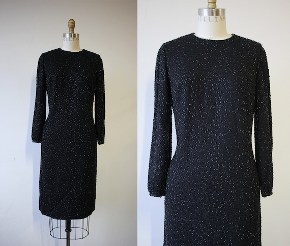 vintage 1960s dress / 60s little black dress / 60s