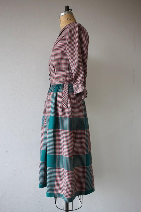 1940s vintage dress / 40s plaid cotton dress / 40… - image 7