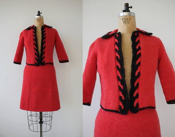 vintage 1960s suit / 60s red knit suit / 60s croch