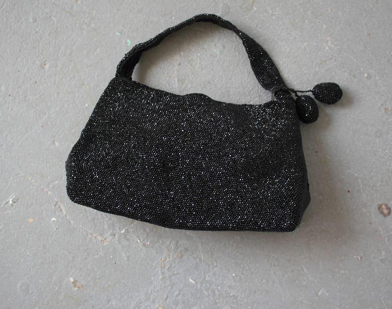 1940s vintage beaded handbag   40s jet black evening bag   40s  235fed2dca6c0