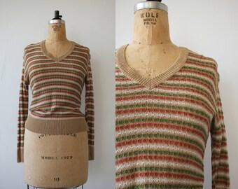 vintage 1970s sweater / 70s v neck sweater / 70s tan green rust striped sweater / 70s light weight sweater / 70s pullover sweater / medium