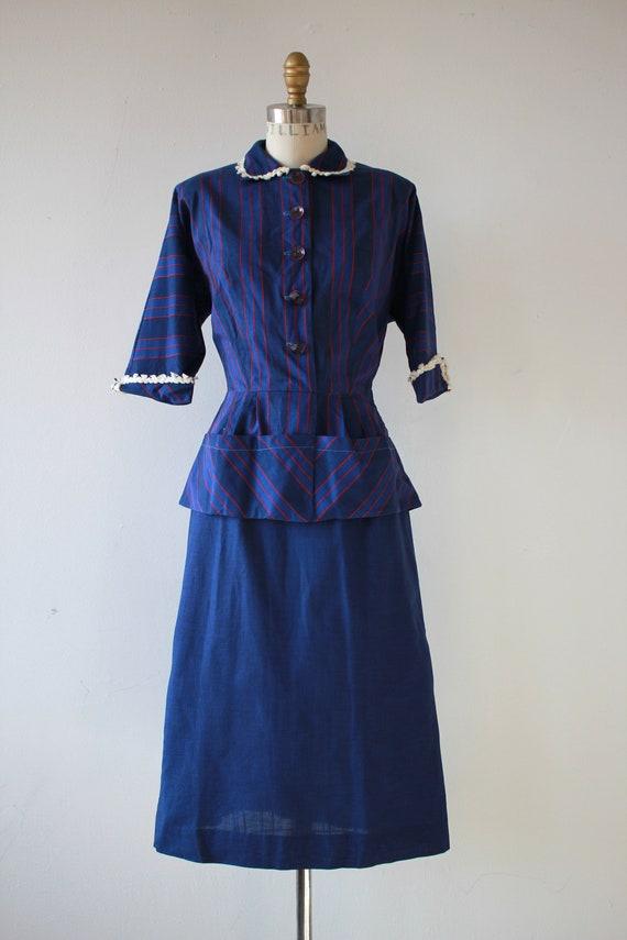 1940s vintage dress / 40s blue cotton dress / 40s… - image 2