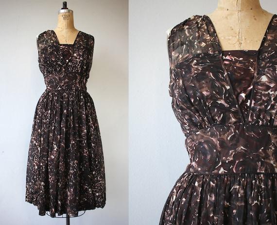 vintage 1950s dress / 50s brown dress / 50s sheer