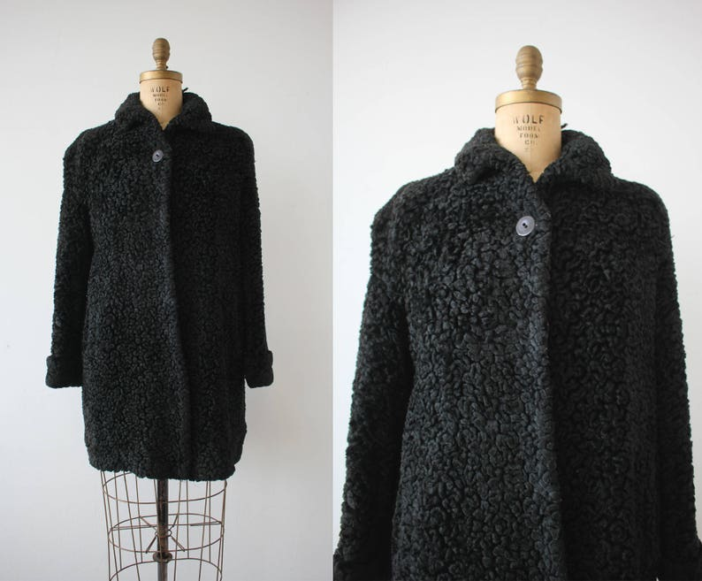 ac51067f7e026 Vintage 1940s coat   40s faux persian lamb coat   40s swing