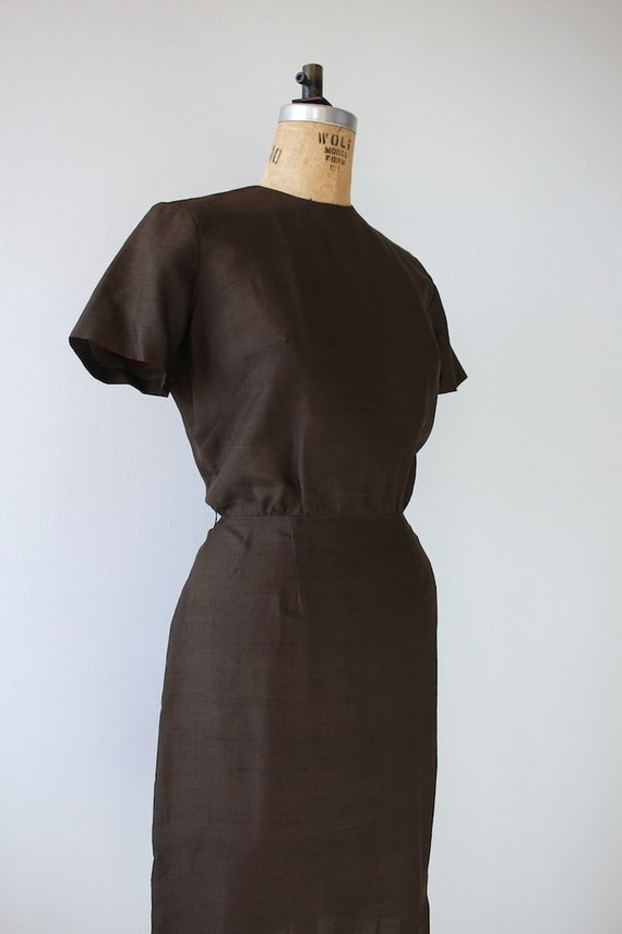 dress vintage 1960s 60s brown size sheath medium 1960s dress silk dress med brown m waqzB