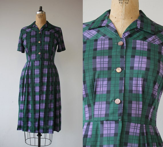 vintage 1960s dress / 60s plaid dress / 60s shirt