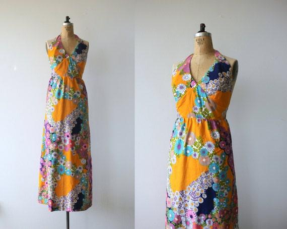 60s psychedelic floral paradise vintage dress halter 60s dress print dress dress hawaii orange print med mod 1960s maxi dress maxi atw77Rq