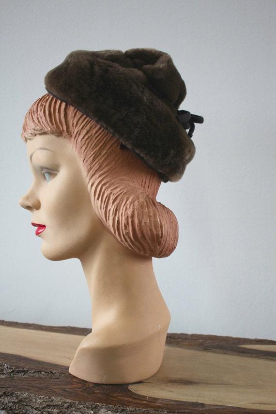 vintage 40s hat / 1940s Sheared Beaver Hat / 40s … - image 3