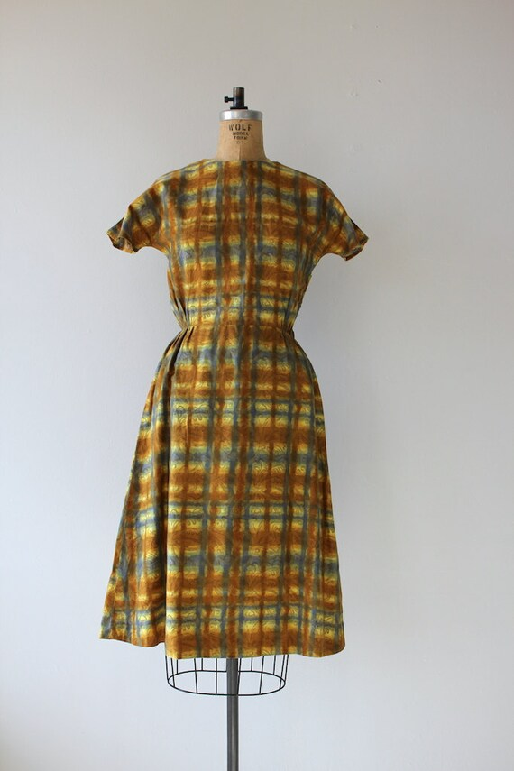 1950s vintage dress / 50s golden plaid dress / 50… - image 2
