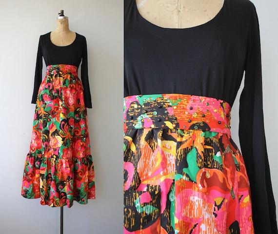vintage 1960s dress / 60s maxi dress / 60s black a