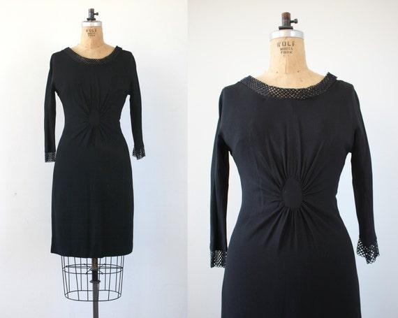 vintage 1950s dress / 50s black dress / 50s LBD /