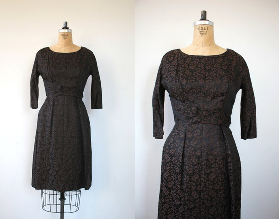 vintage 1950s dress / 50s black brown leslie fay d
