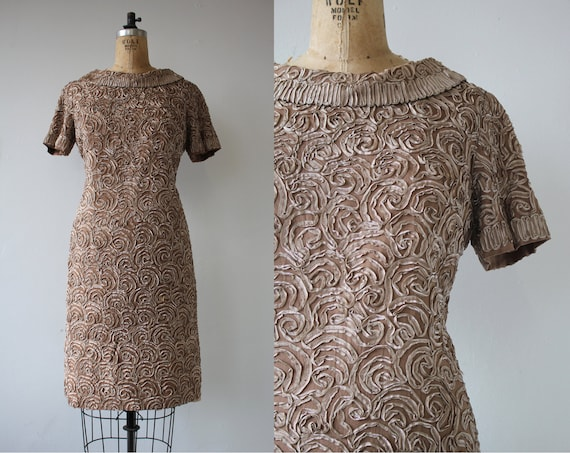 vintage 1960s dress / 60s metallic ribbon dress /