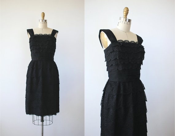 vintage 1950s black lace dress / 50s tiered lace d
