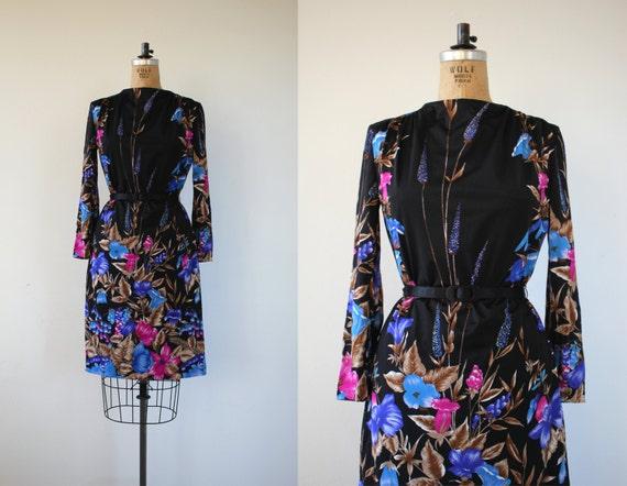 vintage 1970s dress / 70s floral dress / 70s black
