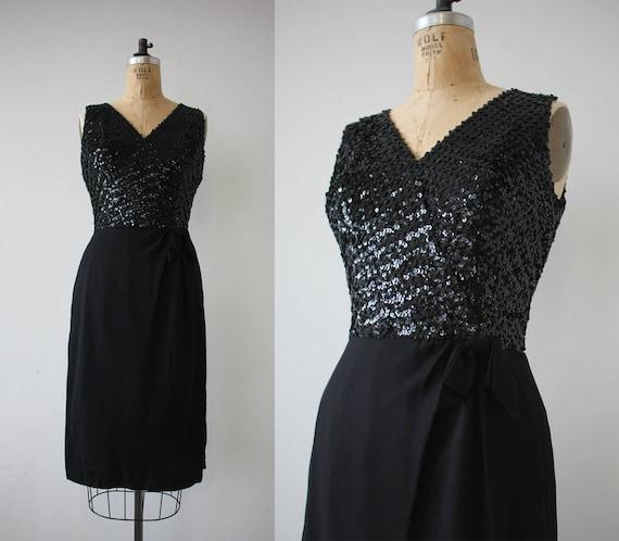 1960s vintage dress / 60s black sequin party dress